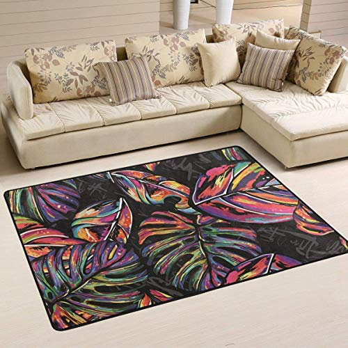 4' X 6' Polyester (Area Rugs Doormats Summer Tropical Palm Trees Colorful Hippie Soft Carpet Mat 6'x4' (72x48 Inches) for Living Dining Dorm Room Bedroom Home Decorative Area Rugs Entry Rug)