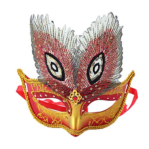 JUNGEN Ball Maske Pfau Halbgesichtsmaske Maskerade Dekoration für Halloween Karneval Party