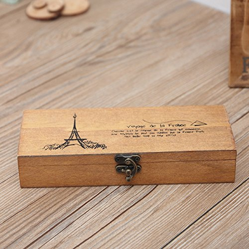 MANjia96COco Retro-Schmuckkästchen Eiffelturm Organizer Münzhalter Schreibwaren Etui (Cd / Glas Tür Dvd)