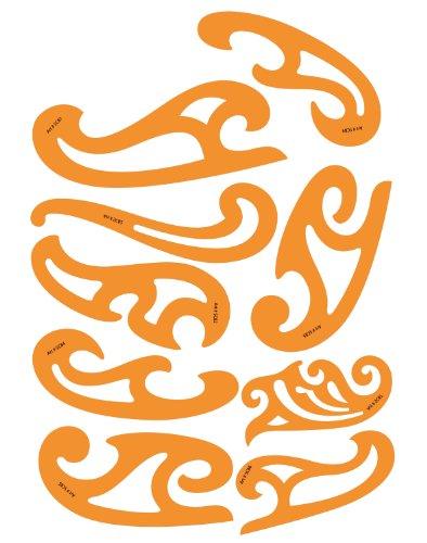 Jeu de 8 Pistolets Courbes en Plastique 1.2mm Règle Pistolet Perroquet Burmester Courbe de Bézier Française Modèle Trace Gabarit Symboles - Dessin Technique Traçage Illustration Couture Coques de Bateaux Tailleur Vêtement