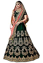 Shree Impex Designer Heavy Embroidered Dark Green Semi stitched Lehenga Choli with Dupatta (bottle_green_bridal_free_size_lehenga choli)