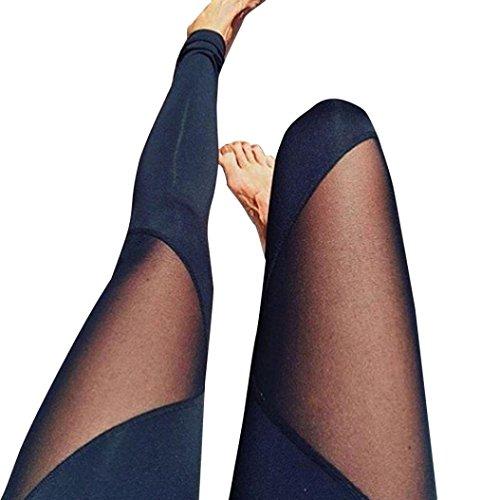 Gefaltete Polyester (Damen Yoga Hose,Sonnena Frauen Taille Yoga Fitness Leggings Running Gymnastik Stretch Sporthosen Hose Mit Polyester/High Taille/Solid/Satin/Elastic Taille/gefaltet/Bleistift Hosen/europäische und amerikanische Art (L, Schwarz))