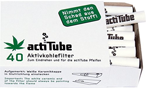actiTube - aktivierte CHARCOAL Filter zum Rollen von 9mm - 1 Box = 40 Filter