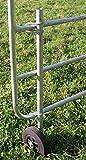 AKO Stützrad für Weidetore, Inklusive Befestigung, feuerverzinkt, Länge 87cm - Empfohlen ab Einer Torbreite von 3 Metern - Kein Schiefstand von Tor und Pfosten