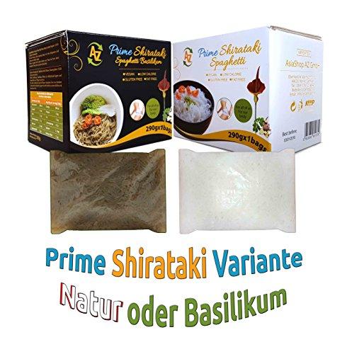 5er Pack - AZ Prime Shirataki Nudeln, Konjaknudeln, Low Carb Pasta - Natur und Basilikum Pesto Geschmack(Glutenfrei, 100% Vegan, Fettarm, Kalorienarm) - Spaghetti Dünn Angel Hair (290g x 5)