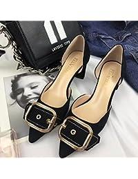 Solo Zapatos Zapatos de Mujer Salvaje boca superficial plana, con satén negro,38