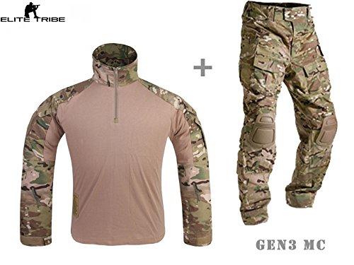 Herren Militär Airsoft paintball BDU Uniform Combat Gen3Tactical Uniform mit Knie Pad MultiCam MC, multicam