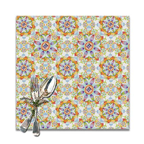 chenchanggende Beaux Arts Flower Crown Table Placemats for Dining Table Wipeable Placemats Washable Table mats Heat Resistant Set of 6 (Bella Coffee Pot)