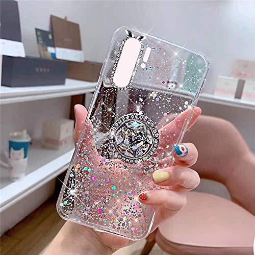 Uposao Kompatibel mit Huawei P30 Pro Hülle Glitzer Mädchen Frauen Diamant Glänzend Strass Bling Schutzhülle Silikon Clear Durchsichtige Hülle Weich TPU Tasche mit Ring Ständer,Klar