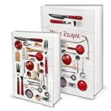 Geschenk-SET zu Weihnachten Geburtstag Hochzeit: je 1 x DIN A5 + 1 x A4 Rezeptbuch Kochbuch Backbuch zum Selberschreiben MEINE REZEPTE sammeln Kochrezepte Backrezepte - Küche Essen gesunde Ernährung
