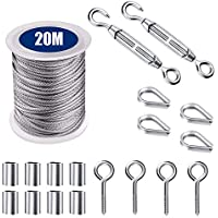 20M/Cable de Acero Inoxidable 2mm,Alambre de Acero Inoxidable 2mm,Kit de Cuerda Acero Inoxidable,Kit barandilla de cables, con Tensores Alambre/Ganchos Ojo/Dedales/Casquillo Aluminio
