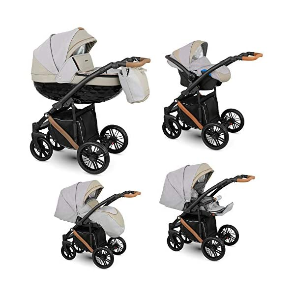 Lux4Kids Stroller Pram 2in1 3in1 Isofix Car seat 3 Colours Free Accessories Log Sand LO-03 4in1 car seat +Isofix Lux4Kids Lux4Kids LOG 3in1 or 2in1 pushchair. You have the choice whether you need a car seat (baby seat certified according to ECE R 44/04 or not). Of course the car is robust, safe and durable Certificate EN 1888:2004, you can also choose our Zoe with Isofix. The baby bath has not only ventilation windows for the summer but also a weather footmuff and a lockable rocker function. The push handle adapts to your size and not vice versa, the entire frame is made of a special aluminium alloy with a patented folding mechanism. 1