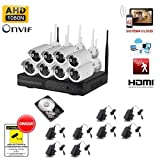KIT 8 CANALI VIDEOSORVEGLIANZA PROFESSIONALE 8 TELECAMERE IP WIRELESS NVR SENZA FILI ARRAY LED HD...