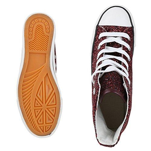 best-boots Donna Uomo scarpe da ginnastica Dunkelrot Glitzer Nuovo