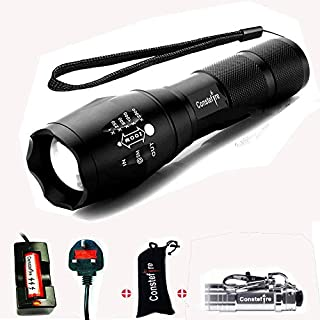 Constefire LED Torch, Super Bright 2000 Lumen Rechargeable Torch, CREE T6 Tactical Flashlight with 5 Modes, Zoomable Waterproof bicycle light & 18650 Battery,3.6-3.7V 3000mAh and Battery Charger