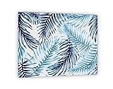 """Impression Murale® - Crédence de cuisine en Panneau composite aluminium""""Motif fougères bleues"""" avec fixation adhésive - L. 60 x H. 50 cm - Epaisseur 3 mm"""