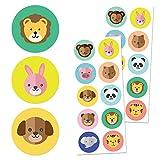 TownStix Tier Kinder Aufkleber Sticker Set, (Hund, Katze, Löwe, Elefant) - 10 Designs, 20 Blätter, 200 Stücke