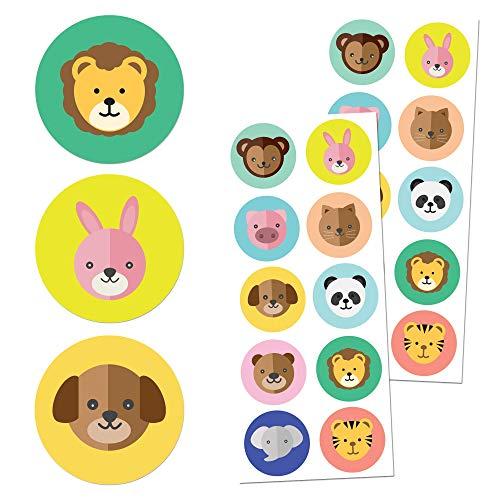 Animales Niños Pegatinas (Perros, Gatos, Leones, Elefantes) - 10 diseños, 20 Hojas,...