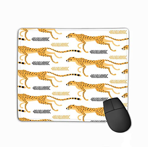 Mouse pad seamless pattern running cheetahs leopards repeating exotic wild cats white background vector illustration steelseries keyboard Gold Wild Cheetah