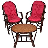 A&E Brown Table and Chair Set Made of Rattan & Wicker
