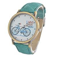 Souarts Canvas Bike Pattern Round Quartz Wrist Watch Green