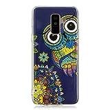 Kompatibel mit Samsung Galaxy A6 Plus 2018 Handyhülle, Herbests Transparent Handyhülle Ultra Dünn Crystal Clear Durchsichtige Schutzhülle TPU Bumper Case Cover Silikon Hülle,Mandala Blumen Eule
