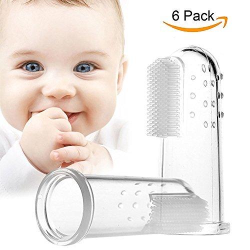Unicoco Cepillo de Dientes de Los Niños Silicona Dedo Cepillo 6 unidades Mascota Bebé