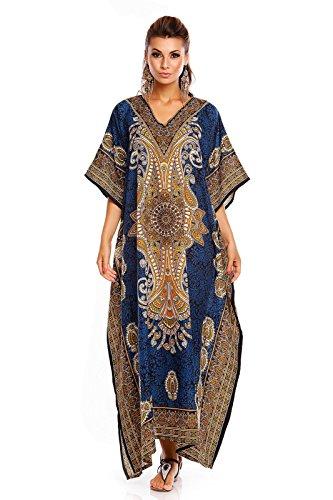 Nuovo Da Donna, Oversize Maxi Kimono Kaftan Tunica Abito Caftano Taglia Unica Verde Blu 20812