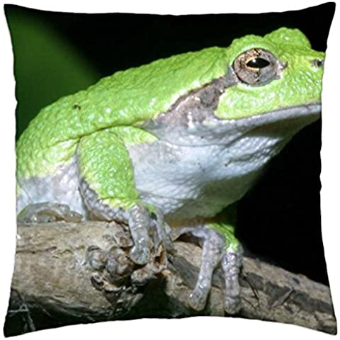 GRAY TREE FROG ON BRANCH - Throw Pillow Cover Case (18