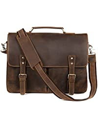 Kattee Mens Leather Briefcase,15 Inch Laptop Messenger Satchel Shoulder Bags