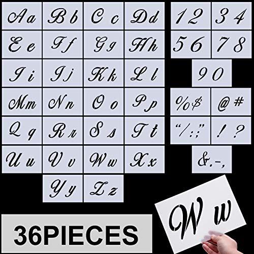 Brief Schablonen, Alphabet Vorlagen, Alphabet Schablonen Wiederverwendbare Kunststoff Kunsthandwerk Schablonen mit Zahlen und Zeichen, Satz mit 36 Teilen - Wörter Wand Schablone