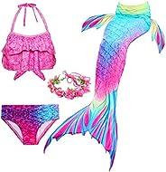 LDFWAY Traje de baño para niñas con cola de sirena y diadema de flores