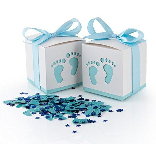 QILICZ 50 STK. Gastgeschenke Baby Taufe Süßigkeit Flaschen Candy Geschenk Box Baby Shower Babydusche Geschenk Box + Konfetti Füßchen Tisch Dekoration für Hochzeit Taufe Geburtstag ()