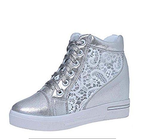 MYI Plattform-Turnschuhe der Frauen beiläufige Athletische Schuhe Bequeme Breathable Trainer-Silberne/Weiße Größe 35-39 (Farbe : Silber, Größe : 38) (Farben Plattform Schuhe)
