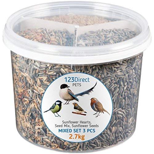2.7 Kg - Mélange 3-en-1 unique de graines pour oiseaux sauvages| Cœurs de tournesol de première + mélange de graines de superbe pour oiseaux sauvages + graines de tournesol de qualité supérieure
