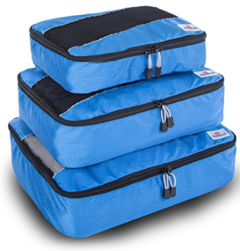 Top Zip Carry On (Suvelle 3pc Set Packing Cubes Nylon Travel Luggage Organizers & Compression Pouches)