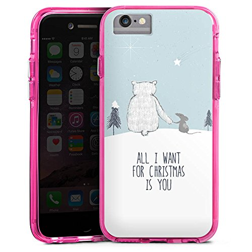 Apple iPhone 7 Bumper Hülle Bumper Case Glitzer Hülle Christmas Weihnachten Friendship Bumper Case transparent pink