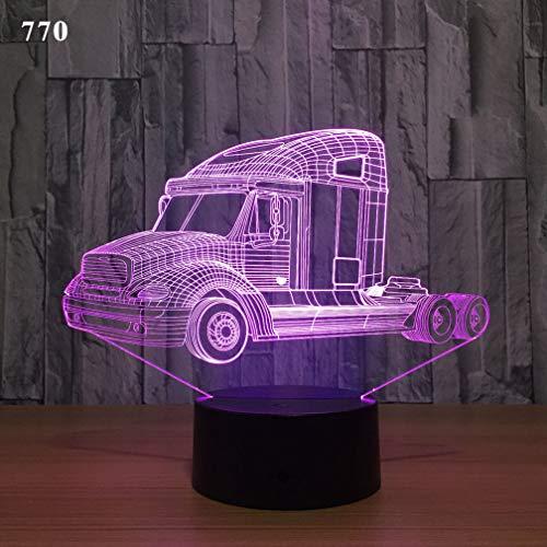 Windtor 3D Nachtlicht Illusion Lampe 7 Farben Wickeltisch Schreibtisch Schlafzimmer Deko Optische Illusion Lampen Geburtstag Geschenk für Jungen Mädchen LKW, 06, Touch Button + Remote Control