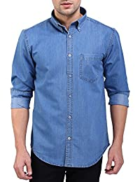 Flags Men's Casual Denim Shirt Light Blue