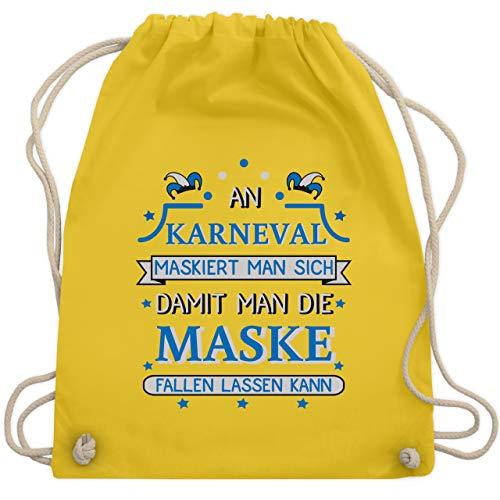 Karneval & Fasching - An Karneval maskiert man sich damit man die Maske fallen lassen kann Blau - Unisize - Gelb - WM110 - Turnbeutel & Gym Bag