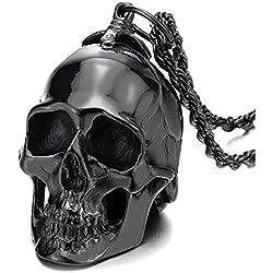 COOLSTEELANDBEYOND De hombre, grande negro, acero pulido espejo, cadena de trigo 75 cm