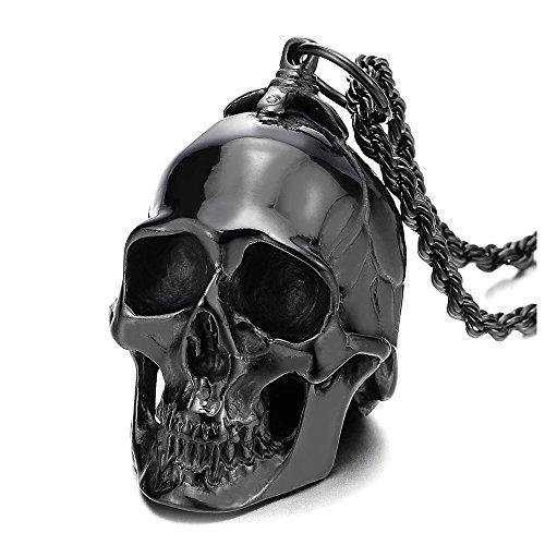 COOLSTEELANDBEYOND Grande Negro Colgante de Cráneo, Calavera,...