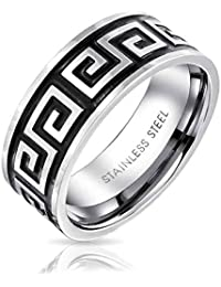 Bling Jewelry Tecla griego Mens Anillo de banda de acero inoxidable