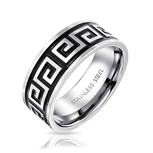 Bling Jewelry griechische Schlüssel Mens Edelstahl Ring