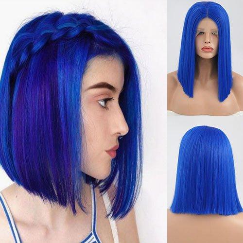Blue Bird Fashion Blau Synthetik-Haar Bob Lace Front Perücken hitzebeständige Kunstfaser Haar Half Hand auf kurze Bob Blunt Perücke für Frauen mittleren Teil - Die Die Engel Box Blue Haben