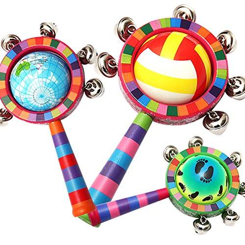 e Baby Holz Handbell Umweltfreundliche Pädagogisches Rassel Trommel Spielzeug Intellektuelle Entwicklung Bett Glocke Weihnachten Halloween Geschenk (Halloween-papier-taschen, Handwerk)