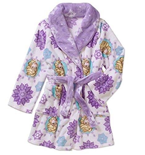 Disney Frozen Girls Elsa Snowflake Plush Robe Bathrobe Pajamas Purple