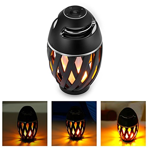 96LED Flamme Atmosphäre Lampe Wireless Bluetooth Lautsprecher Outdoor Portable Stereo (Farbe: Schwarz)