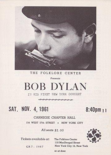 Konzert-Poster, Vintage-Stil, BOB DYLAN AT CARNIEGE HALL 1961, 250 g/m², glänzend, A3, Reproduktion (Dylan Vintage Bob)