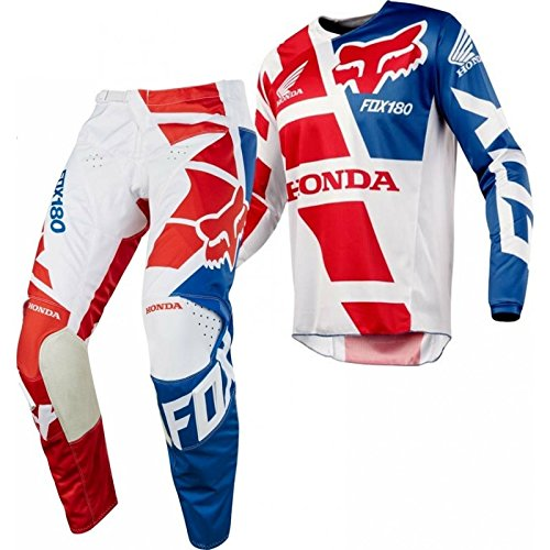 "Price comparison product image 2018 Fox 180 HONDA Motocross Gear RED WHITE BLUE 30"" Pants Small Jersey"